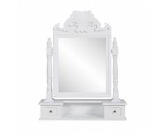 vidaXL Tavolo make up stile classico con specchio oscillante bianco