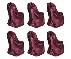 vidaXL Coprisedia Rosso di Burgundia per Feste nozze 6 pezzi
