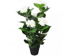 vidaXL Ortensia Pianta Artificiale con Vaso 60 cm Bianca