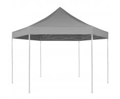 vidaXL Gazebo pieghevole esagonale pop-up grigio 3,6x3,1 m