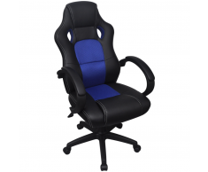 vidaXL Sedia Racing da Ufficio Esecutivo in Pelle Artificiale Blu