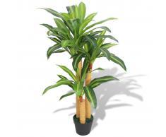 vidaXL Dracena Pianta Artificiale con Vaso 100 cm Verde