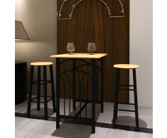 vidaXL Tavolo rettangolare da cucina con 2 sedie set in legno