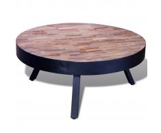 Tavolino per cafè rotondo in legno anticato di teak