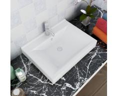 vidaXL Lavello Bianco in ceramica rettangolare con foro rubinetto 60 x 46 cm