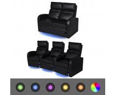 vidaXL Poltrona da Cinema Reclinabile a 2+3 posti con LED Pelle Artificiale Nera