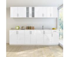 Armadietto Cucina Lucido Bianco con Base Lavandino 8 pz 260 cm