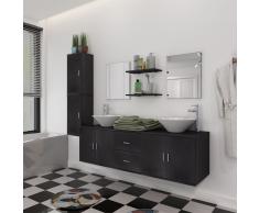 vidaXL Set 9 pz Mobili da bagno e lavandino nero