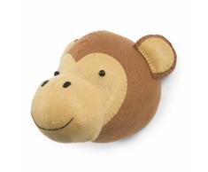 CHILDWOOD Testa di Scimmia Decorazione Parete Feltro Marrone CCFMKH