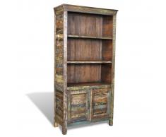 vidaXL Libreria multicolore in legno riciclato con 3 scaffali e 2 porte