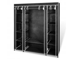 vidaXL Armadio in tessuto con compartimenti e barre 45 x 150 x176 cm nero