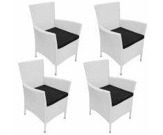 vidaXL 4 Pz Set Sedie da Giardino in Polyrattan Bianco Crema