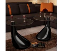 vidaXL Tavolini salotto set da 2 in vetro design nero a goccia