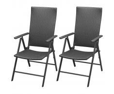 vidaXL 2 pz Set Sedie da Giardino in Polirattan ed Alluminio Nero