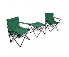 vidaXL Set da campeggio 1 tavolo e 2 sedie verde