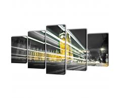 5 pz Set Stampa su Tela da Muro Londra Big Ben 200 x 100 cm