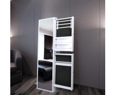 vidaXL Specchio portagioielli con cassetti laterali bianco