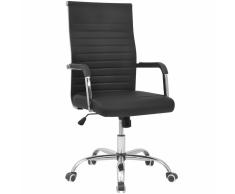 vidaXL Sedia da ufficio in pelle artificiale 55 x 63 cm nera