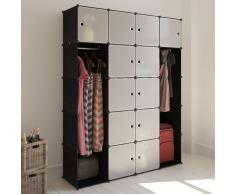 vidaXL Scaffale armadietto con 14 scomparti nero e bianco 37 x 146 180,5 cm