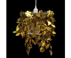 vidaXL Lampadario da Soffitto con Paralume Foglie Pailette 21,5 x 30 cm Oro