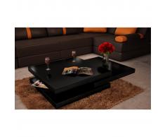 Tavolino basso salotto nero tre ripiani quadrato