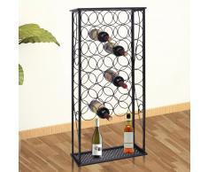 vidaXL Portabottiglie in Metallo per 28 Bottiglie di Vino