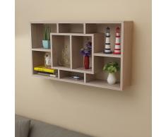 Libreria da parete scaffale mensola a muro con 8 scomparti quercia