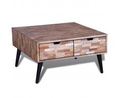 Tavolino per cafè con 4 cassetti in legno anticato di teak