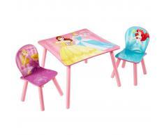 Disney 3 Pz Set Tavolo e Sedie Princess in Legno 45x63x63 cm Rosa WORL660020