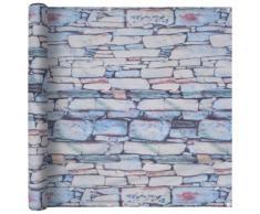 vidaXL Paravento da Balcone Tessuto Oxford 75x400cm Stampa Muro Pietra