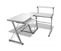 vidaXL Tavolo scrivania per computer postazione di lavoro finitura bianca
