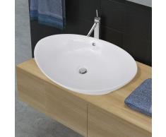 vidaXL Lavello ovale in ceramica di lusso con troppopieno 59 x 38,5 cm