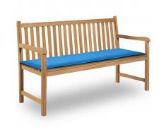 vidaXL Cuscino per Panca da Giardino Blu 150x50x3 cm