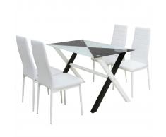 vidaXL Set 5 pezzi Tavolo e Sedie da Pranzo in Pelle Artificiale