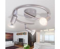 vidaXL Lampada da Soffitto con 3 Faretti a LED in Nichel Satinato