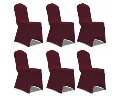 vidaXL Coprisedia in Tessuto elasticizzato Rosso di Burgundia 6 pezzi