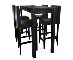 vidaXL Set Tavolino da Bar con 4 Sgabelli Neri
