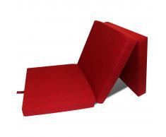 vidaXL Materasso di Schiuma Pieghevole 190 x 70 9 cm Rosso