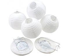 AGPtek 5 Pcs 10 Pouces Lanternes en Papier Lampion Chinois Abat-jour Ronde Blanche Décoration pour Mariage Anniversaire Fête