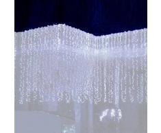 SOLMORE 3Mx3M Rideau Lumineux 300 LED Festival Guirlande Lumineuse pour Décoration de Noël / Fête/ Mariage / Soirée / Anniversaire EUR Prise 220V Blanc