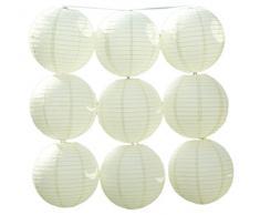 JTC 9pc Lanterne en Papier Mariage Lampion avec Fer Décoration de Maison /de Fête--9pc Crème (diamètre :10CM)