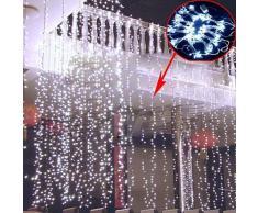 KKGUD LED Guirlande Rideau Lumineux 4M×3M 400 leds avec la Prise Française 8 Modes de Flash pour Décoration Noël / Soirée / Festival/ Mariage, Fête (Blanc)