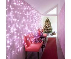 Rideau Lumineux Raccordable Intérieur/Extérieur 2m x 2m, 192 LED Roses, Type CC, Décoration Mariage Noël