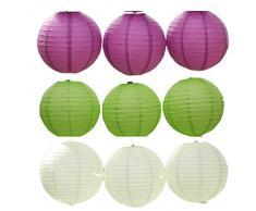 JTC 9pc Lanterne en Papier Lampion avec Fer Décoration de Maison /de Fête--3pc Violet foncé +3pc Vert +3pc Blanc (diamètre :20CM)