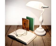 Relaxdays 10016609 Lampe de Bureau Banquier avec Abat-Jour en Verre Blanc E 27