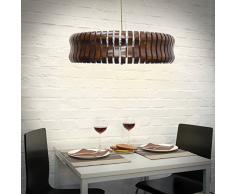 Relaxdays 10018905 Lampe suspension 5 ampoules en verre/bois/métal, Brun