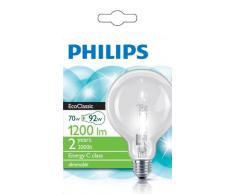 Philips Ampoule EcoHalogène Globe Culot E27 70 Watts consommés Equivalence incandescence : 92W