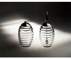 Alessi Tw02 Sugar Jar Saupoudreuse à Sucre en Verre Cristallin avec Couvercle en Acier Brillant