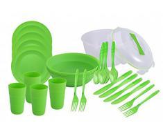 Service de 26 pièces - plats de service avec couvercle, assiette, coupelles, gobelets, couverts - pour 4 personnes - pour pique-nique, voyage ou camping - vaisselle