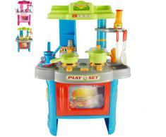 Cuisine pour enfants en plastique - effets sonores et lumineux - 14 accessoires - DIVERSES COULEURS AU CHOIX